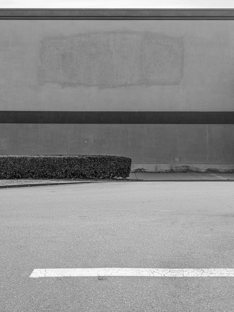 Minimal urban landscape photograph of architecture with a hedge and missing sign