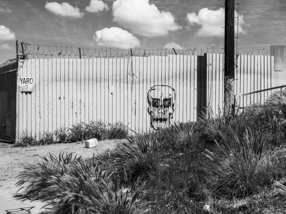 Minimal urban landscape photograph in Los Angeles with a skull on a fence